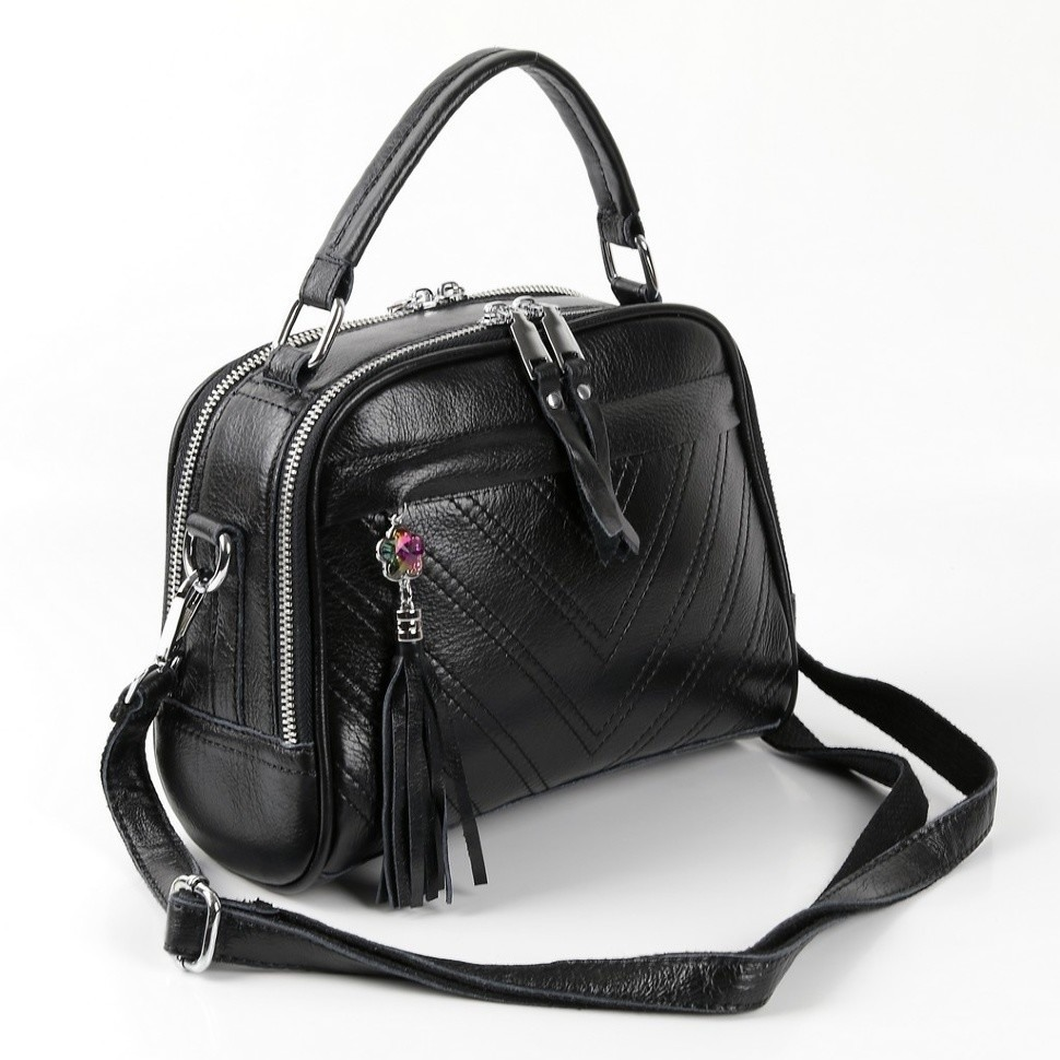 f898bd551291 Купить оптом женскую кожаную сумку 1877-2 Блек