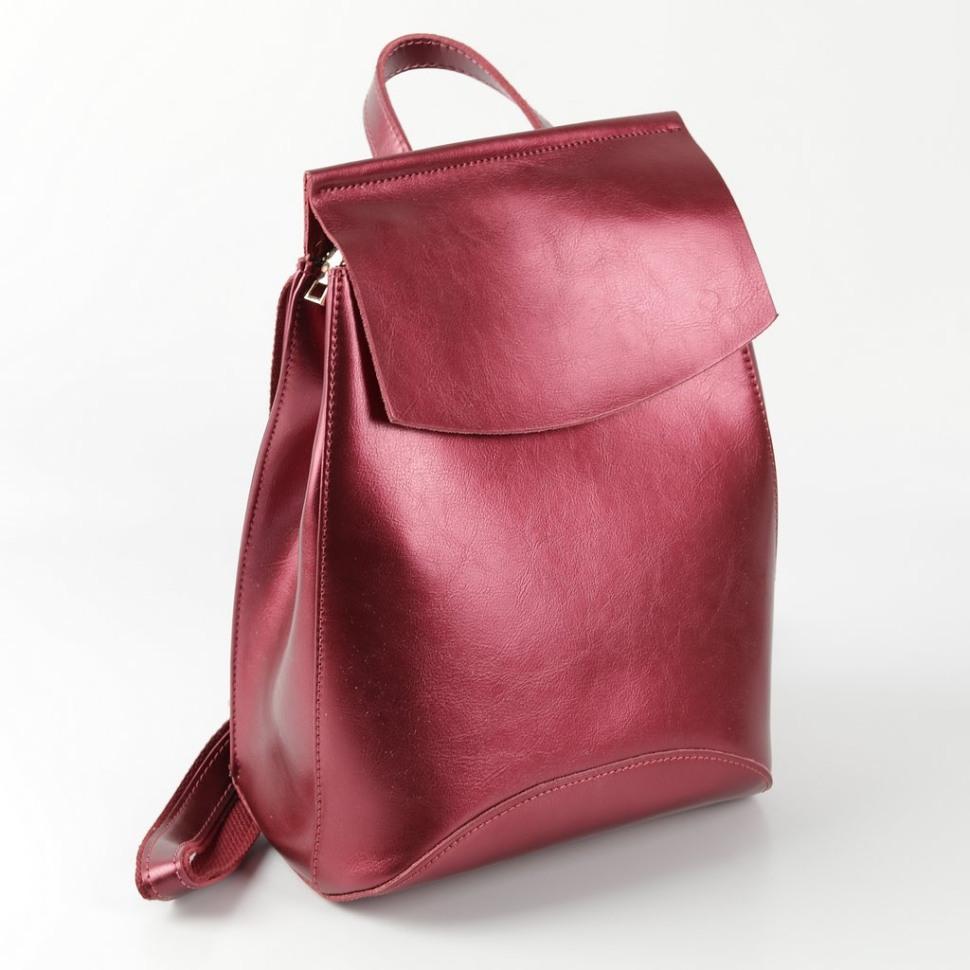 9be03f3d5c76 Купить оптом рюкзак женский кожаный 12408 Красный-Электрик